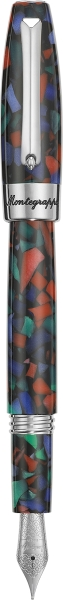Fortuna Mosaico Fountain Pen, Aurora Borealis (Steel & Blue, Green, Red)